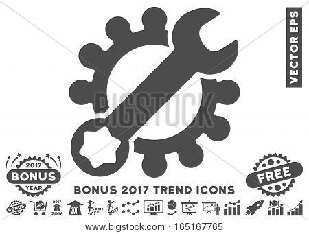 Gray Service Tools pictograph with bonus 2017 year trend clip art. Vector illustration style is flat iconic symbols white background.