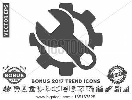 Gray Service Tools pictogram with bonus 2017 year trend clip art. Vector illustration style is flat iconic symbols white background.