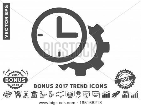 Gray Time Setup Gear pictogram with bonus 2017 year trend elements. Vector illustration style is flat iconic symbols white background.