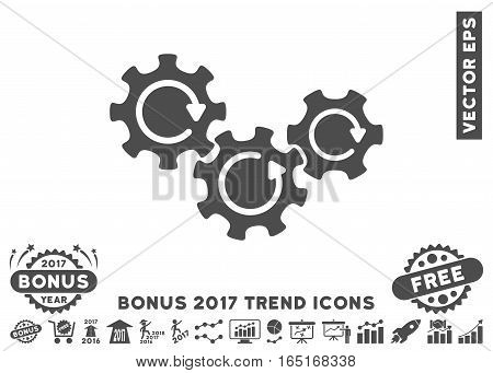 Gray Transmission Gears Rotation icon with bonus 2017 trend icon set. Vector illustration style is flat iconic symbols white background.