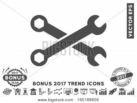 Gray Wrenches pictograph with bonus 2017 year trend clip art. Vector illustration style is flat iconic symbols white background.
