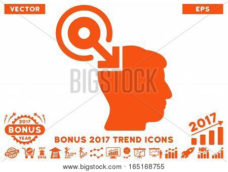 Orange Brain Interface Plug-In pictograph with bonus 2017 trend icon set. Vector illustration style is flat iconic symbols white background.