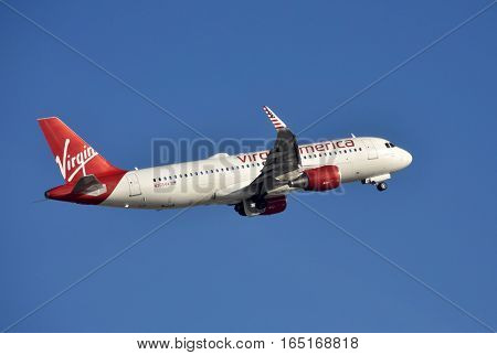 Fort Lauderdale USA December 26 2016: Virgin America Airbus passenger jet departs from Ft Lauderdale to its home base in San Francisco.