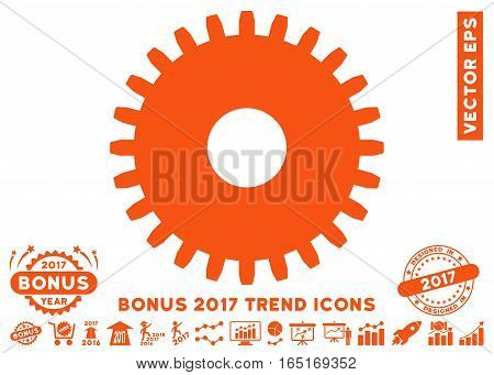 Orange Cogwheel pictograph with bonus 2017 year trend pictograph collection. Vector illustration style is flat iconic symbols white background.