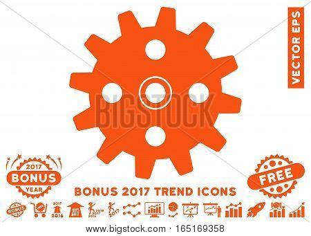 Orange Cogwheel pictograph with bonus 2017 trend symbols. Vector illustration style is flat iconic symbols white background.