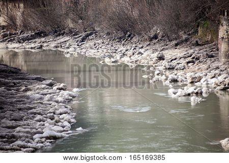 Rioni River in cloudless weather Kutaisi Georgia.