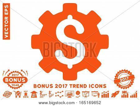 Orange Development Cost pictograph with bonus 2017 trend clip art. Vector illustration style is flat iconic symbols white background.