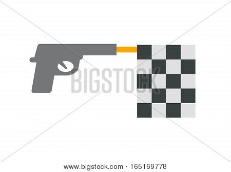 Symbol with checkered flag. Vector illustration, EPS 10
