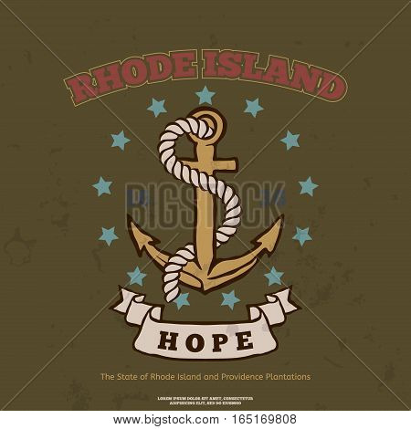 Anchor with rope and hope. Design elements. T-shirt print. Rhode Island Flag