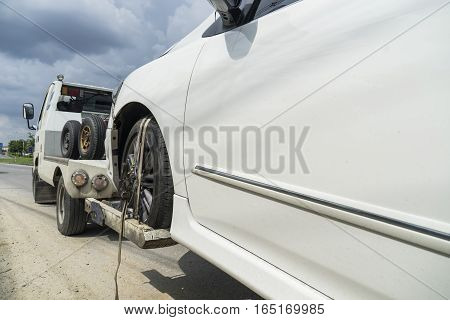forklift service you have car accident on the road - can use to display or montage on product
