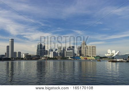 abstract cityscape at waterfront and blue sky - can use to display or montage on product