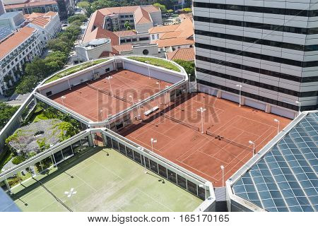 tennis courts on the rooftop hotels for vacation - can use to display or montage on product