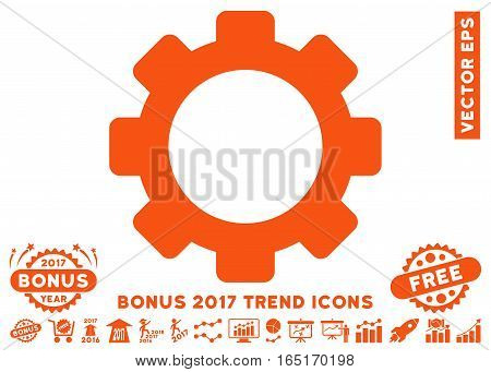 Orange Gear pictogram with bonus 2017 trend pictograph collection. Vector illustration style is flat iconic symbols white background.