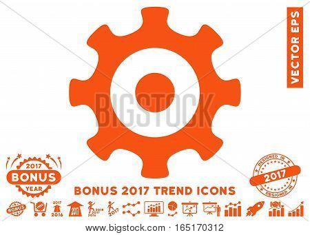 Orange Gear pictograph with bonus 2017 trend clip art. Vector illustration style is flat iconic symbols white background.