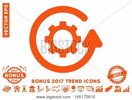 Orange Gearwheel Rotation Direction pictograph with bonus 2017 year trend pictograph collection. Vector illustration style is flat iconic symbols white background.