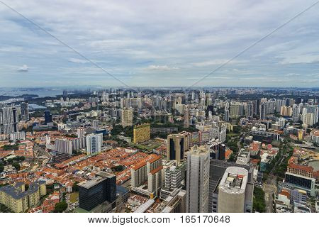 cityscape from rooftop on day time in singapore