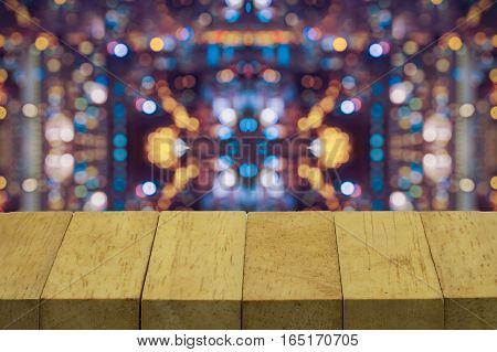 abstract wood top on blur with varity light bokeh - can use to display or montage on product