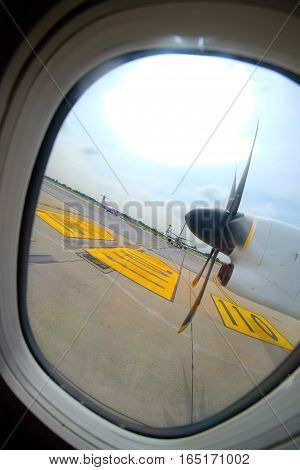 view from the airplane window aircraft propeller