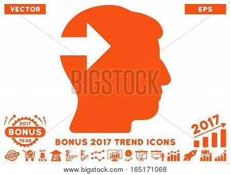 Orange Head Plug-In Arrow pictogram with bonus 2017 trend design elements. Vector illustration style is flat iconic symbols white background.