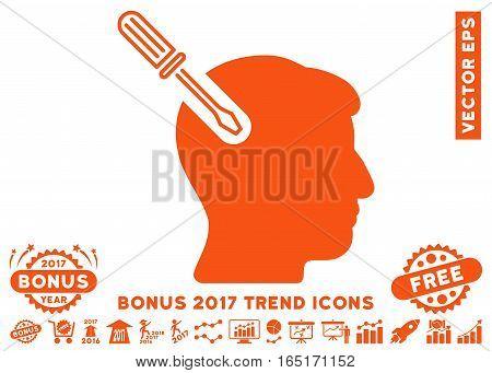 Orange Head Surgery Screwdriver pictogram with bonus 2017 trend pictures. Vector illustration style is flat iconic symbols white background.