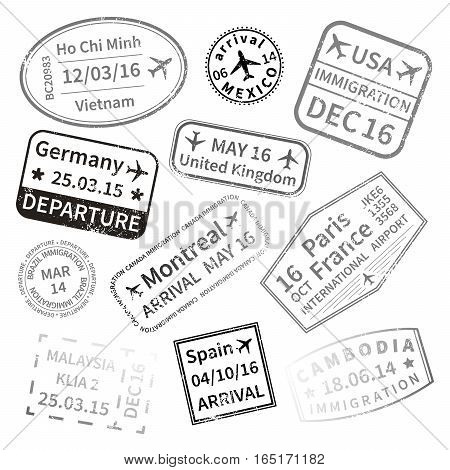 Big set of black International travel visa stamps isolated on white. Arrivals sign rubber stamps.