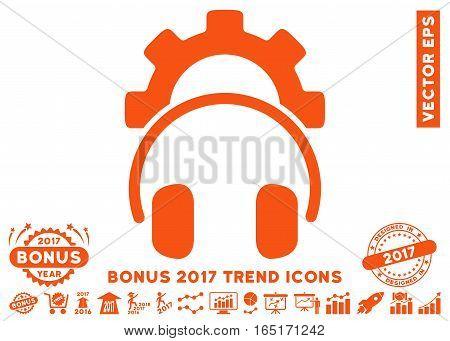 Orange Headphones Configuration Gear icon with bonus 2017 year trend design elements. Vector illustration style is flat iconic symbols white background.