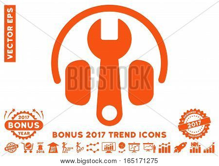 Orange Headphones Tuning Wrench icon with bonus 2017 trend pictograph collection. Vector illustration style is flat iconic symbols white background.