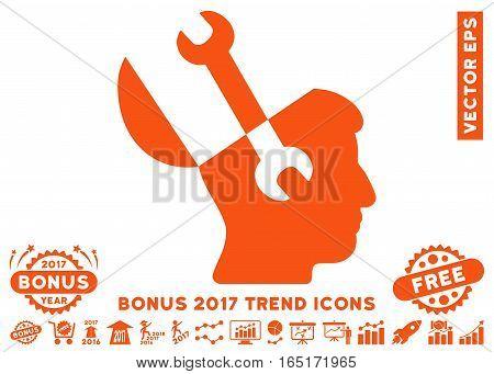 Orange Mind Wrench Tools pictograph with bonus 2017 year trend symbols. Vector illustration style is flat iconic symbols white background.