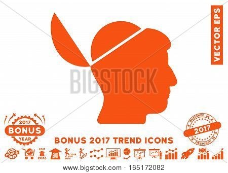 Orange Open Brain pictogram with bonus 2017 year trend pictograms. Vector illustration style is flat iconic symbols white background.