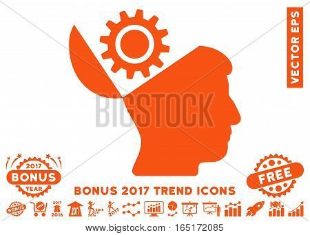 Orange Open Head Gear icon with bonus 2017 trend pictograph collection. Vector illustration style is flat iconic symbols white background.
