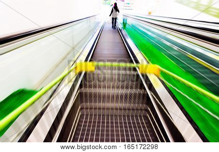 Supermarket escalators and customers dynamic fuzzy picture.