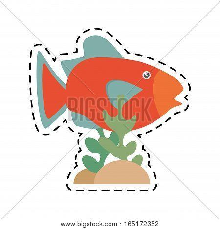 orange fish marine ecosystem life coral vector illustration eps 10