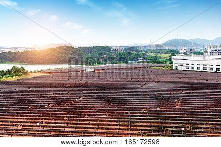 A bird 's eye view of the dusk photovoltaic power station
