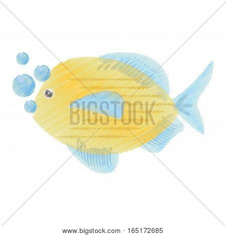 hand drawing blue and yellow fish variety ocean bubbles vector illustration eps 10