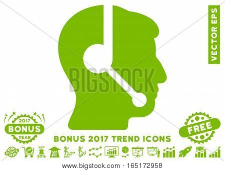 Eco Green Call Center Operator icon with bonus 2017 year trend images. Vector illustration style is flat iconic symbols white background.