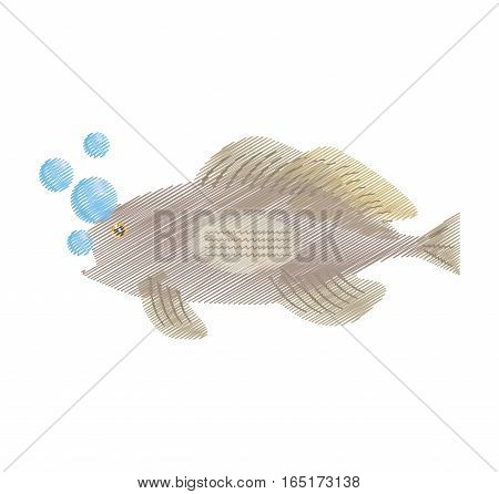 hand drawing grouper fish side view sea life bubbles vector illustration eps 10