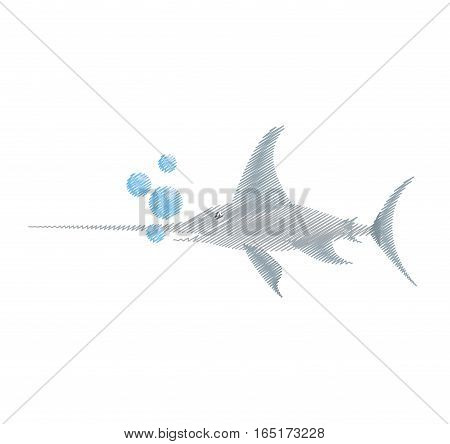 hand drawing marlin swordfish marine wildlife bubbles vector illustration eps 10