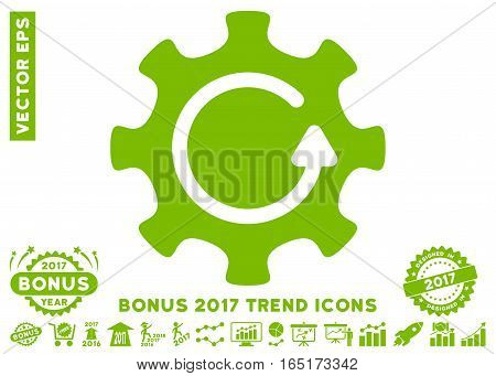 Eco Green Cog Rotation Direction pictograph with bonus 2017 trend icon set. Vector illustration style is flat iconic symbols white background.