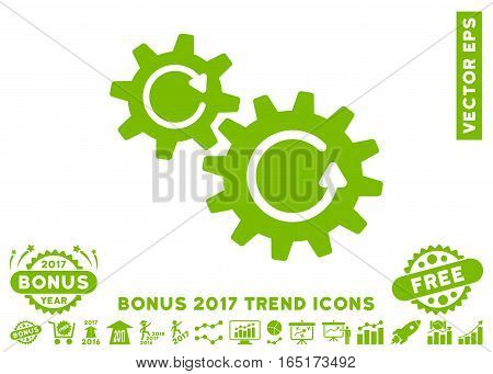 Eco Green Cogs Rotation icon with bonus 2017 year trend icon set. Vector illustration style is flat iconic symbols white background.