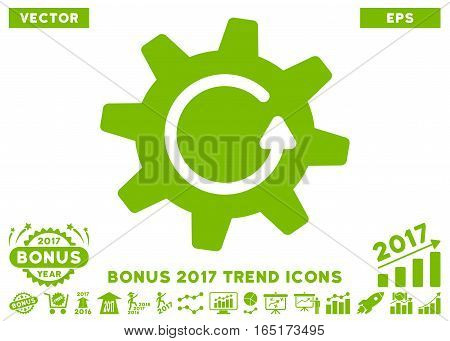 Eco Green Cogwheel Rotation Direction pictograph with bonus 2017 year trend elements. Vector illustration style is flat iconic symbols white background.