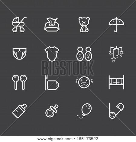 Baby stuff element vector white icon set2 on black background