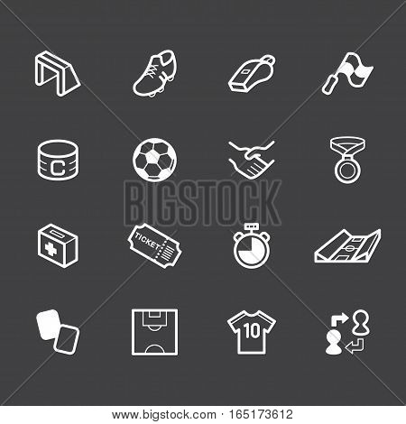 Soccer element vector white icon set on black background