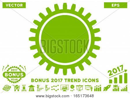 Eco Green Cogwheel icon with bonus 2017 year trend pictograph collection. Vector illustration style is flat iconic symbols white background.