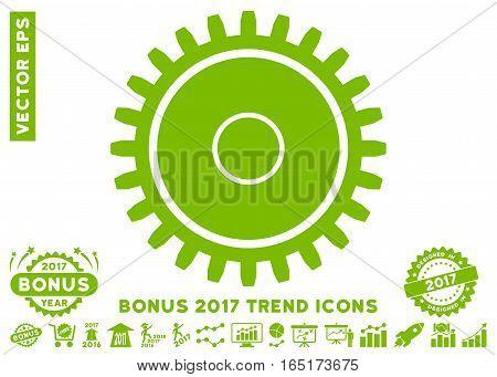 Eco Green Cogwheel pictogram with bonus 2017 year trend images. Vector illustration style is flat iconic symbols white background.
