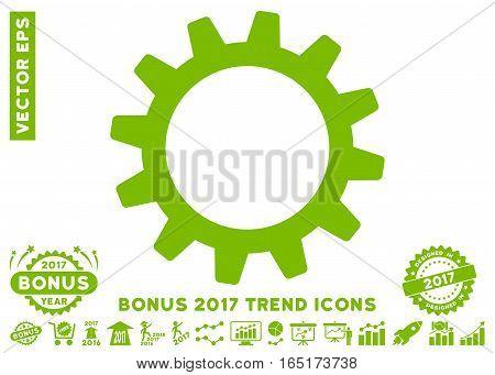 Eco Green Cogwheel pictogram with bonus 2017 year trend pictograms. Vector illustration style is flat iconic symbols white background.