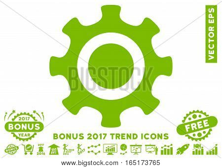 Eco Green Cogwheel pictograph with bonus 2017 trend design elements. Vector illustration style is flat iconic symbols white background.