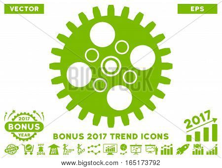 Eco Green Cogwheel pictogram with bonus 2017 trend clip art. Vector illustration style is flat iconic symbols white background.