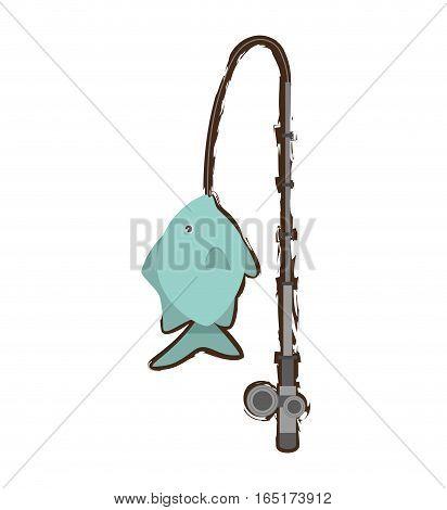 tropical fish sea habitat fishing rod vector illustration eps 10