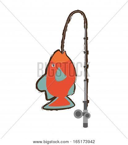 orange fish marine ecosystem life fishing rod vector illustration eps 10
