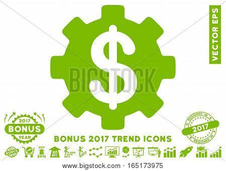 Eco Green Development Cost pictograph with bonus 2017 year trend images. Vector illustration style is flat iconic symbols white background.